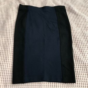 H&M navy and black stretch pencil skirt